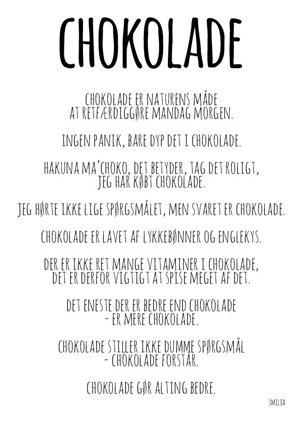 citater om chokolade Chokolade (A4)   Smilia   StiLia ApS citater om chokolade
