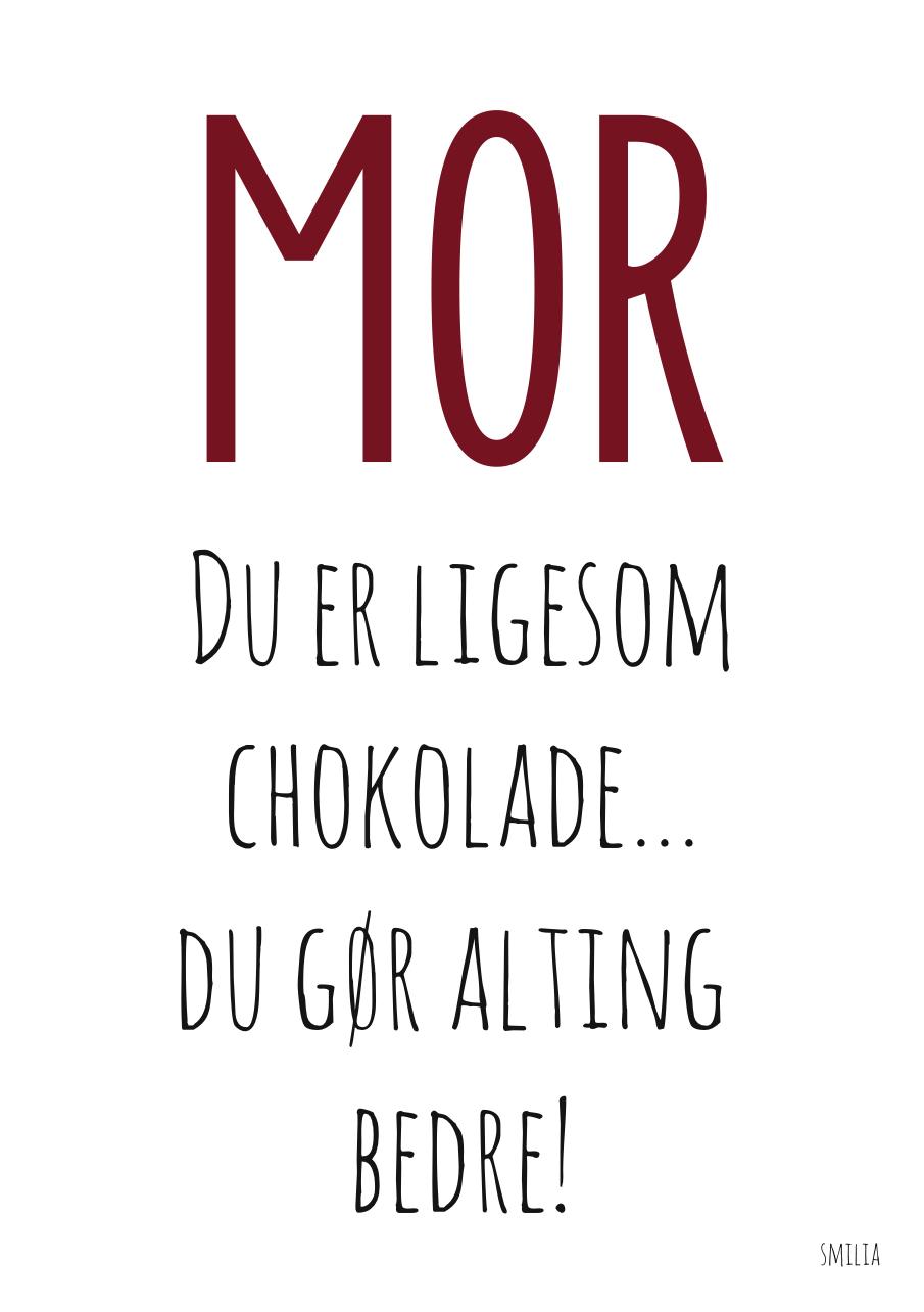 søde citater om mødre Tak mor plakat (A4) søde citater om mødre